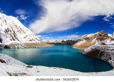 Beautiful blue lake in high altitude, Tilicho, Nepal