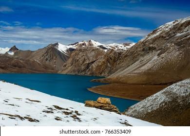 Beautiful blue lake in high altitude, Tilicho, Nepal