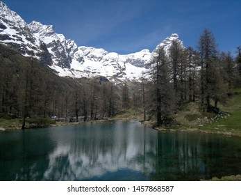 Beautiful Blue Lake (Lago Blu) in the Aosta Valley, with the Cervino mountain. Italy.