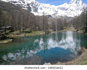 Beautiful Blue Lake (Lago Blu) in the Aosta Valley, with the Cervino mountain. Italy. Europe.