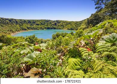 Beautiful Blue lake near the Poas Volcano in Costa Rica.