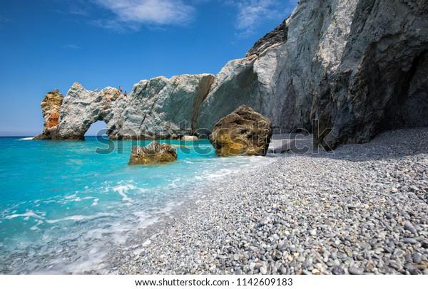 Beautiful blue Lalaria beach in Skiathos