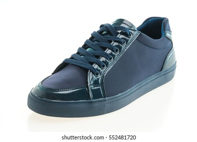 Beautiful blue leather shoes for men isolated on white background