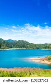 Beautiful blue Lokvarsko lake in colorful mountain landscape, Lokve, Gorski kotar, Croatia