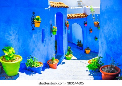 Beautiful blue medina of Chefchaouen city in Morocco, North Afri