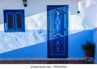 Beautiful blue medina of Chefchaouen city in Morocco, North Africa, small town in northwest Morocco known for it's blue buildings