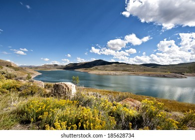 The beautiful Blue Mesa Reservoir located in the Curecanti National Recreation Area in western Colorado near Gunnison