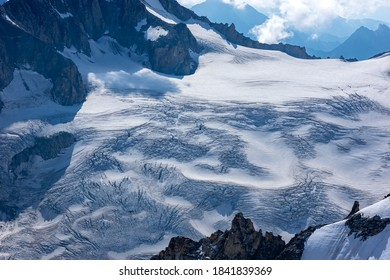 Beautiful blue morning landscape with  glacier on the Mont Blanc massif from Aiguille du Midi 3842m, Chamonix, France