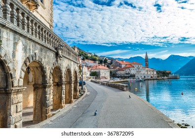 Beautiful blue morning in Perast old town