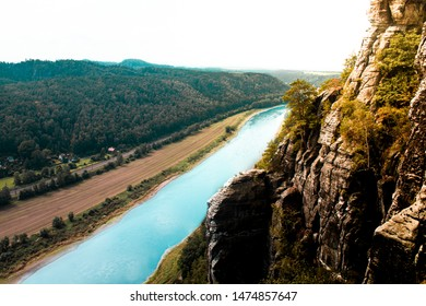 Beautiful blue river Elbe in Germany at mountainside in Sächsische Schweiz