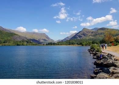 Beautiful Blue Scene of Lake Padarn, Llanberis, Snowdonia, Wales