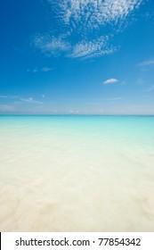Beautiful blue sea from a beach in Thailand, Asia