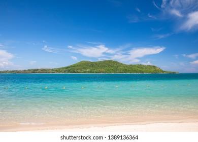 Beautiful blue sea and blue sky with clound at Samae San island in Sattahip, Chon Buri, Thailand.