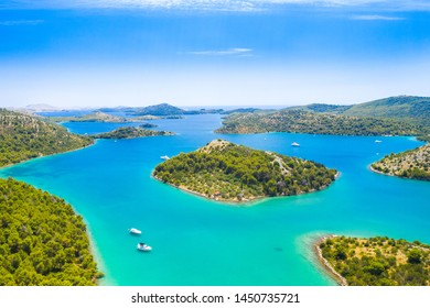 Beautiful blue sea, small islands archipelago in nature park Telascica on the island of Dugi Otok in Croatia, aerial seascape