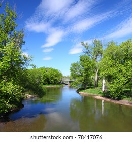 Beautiful blue skies on a spring day along the Kishwaukee River of Illinois