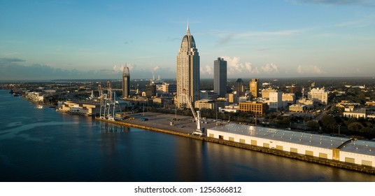 Beautiful blue skies over the downtown city center in an aerial view of Mobile Alabama