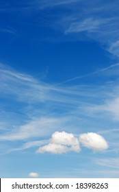 Beautiful blue sky background with fluffy white clouds