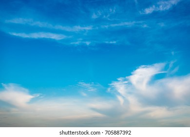 Beautiful blue sky with cloud background in daylight