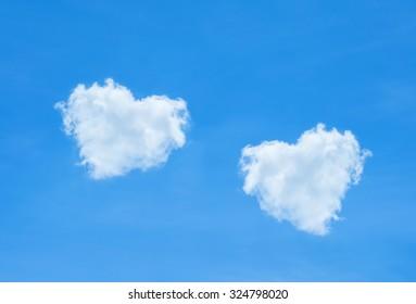 Beautiful blue sky and beautiful cloud heart shape for wedding background