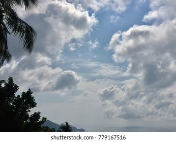 Beautiful blue sky clouds and blue ocean