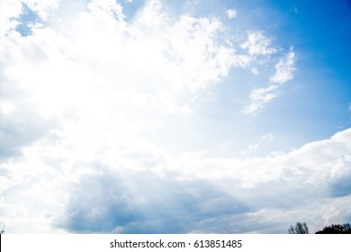beautiful blue sky with clouds and sun rays