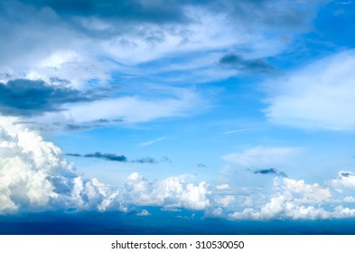 Beautiful Blue Sky Cloudy after Raining on Top of Mountain View in Rainy Season