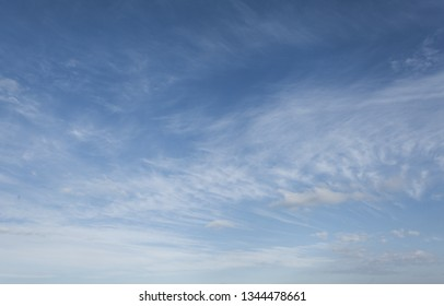 Beautiful blue sky with light translucent cloud