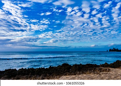 Beautiful blue sky and nice blue ocean color with paradise beach at Alii Beach Park in Haleiwa town at the Northshore of Oahu Island, Hawaii USA
