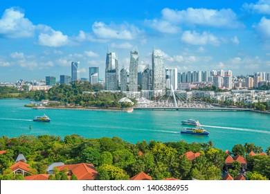 The beautiful blue sky of Singapore.