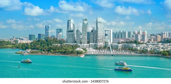 The beautiful blue sky of Singapore.Beautiful Singapore city.