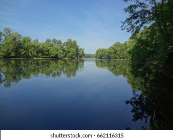 A beautiful blue sky and tall green trees reflected off of a serene river in East Tennessee, USA.