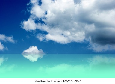 Beautiful blue sky and turquoise water background