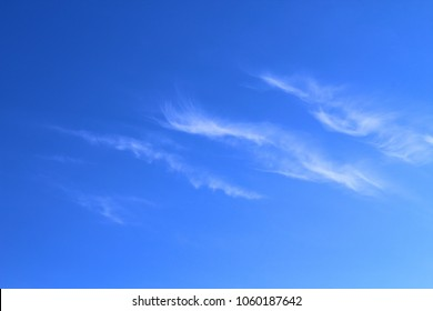 Beautiful blue sky and white cirrus clouds. Background. Landscape.