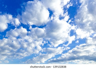Beautiful blue sky and white clouds on sunny day