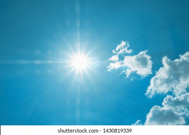 Beautiful blue sky with white clouds and sun, sunlight background abstract