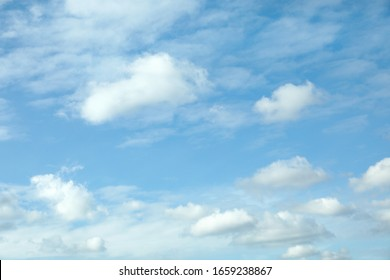 Beautiful blue sky with white clouds on sunny day
