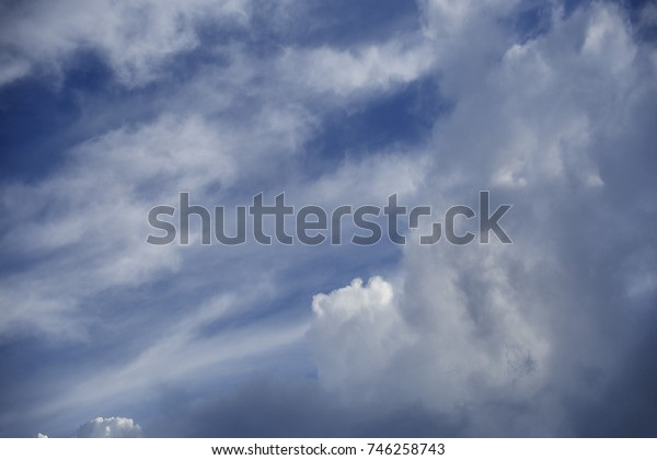 a beautiful blue sky with white clouds as background/beautiful blue sky filled with white clouds
