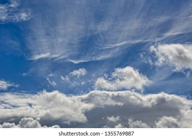 Beautiful blue sky with white and gray clouds in summer season.