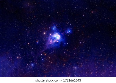 Beautiful blue space with stars and nebulae. Elements of this image were furnished by NASA.