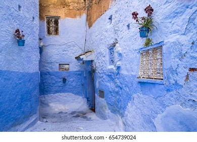 Beautiful blue street in Chefchaouen, Morocco. Chefchaouen is the chief town of the province of the same name, and is noted for its buildings in shades of blue.