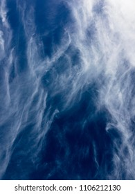 Beautiful blue summer sky with natural abstract white clouds, background