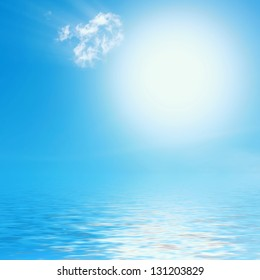 Beautiful blue sunny sky with reflection in water