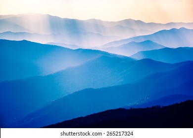 Beautiful Blue Sunrise on the Great Smoky Mountains National Park in Tennessee