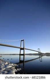 Beautiful blue suspension bridge