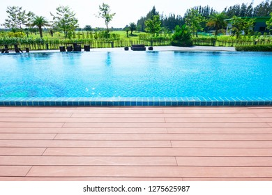 Beautiful blue swimming pool for background.