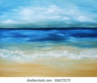 Beautiful, blue, tropical sea and beach. Original oil painting on canvas.
