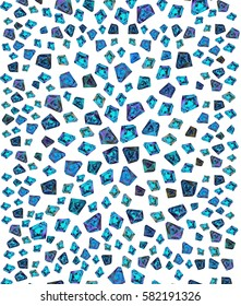 Beautiful blue turquoise hand drawn gems. Retro fashion texture in 80s - 90s style. Bright illustration for clothes, prints, design.