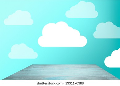 beautiful blue wall with clouds and empty white tabletop in cute nursery          - Image