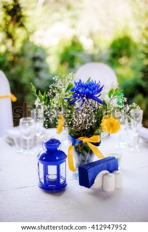 Beautiful Blue Yellow Wedding Table Decoration Stock Photo Edit Now