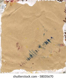 Beautiful blue, yellow and white paint splatters on classic brown paper- Great for textures and backgrounds for your projects!